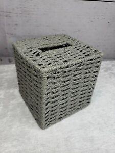 Gray Wicker Tissue Box Holder Rustic Square Cover Woven Decorative