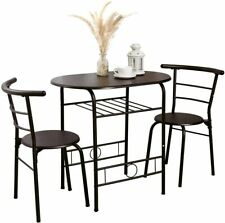 3 Piece Dining Table Set 2 Chairs Kitchen Breakfast Bistro Pub Room Furniture