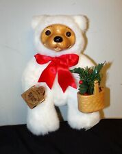Vintage Alvin Bear Christmas Edition 1993 White Fur Wood Basket Robert Raikes