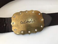 Ted Baker retro 90's brown leather large buckle logo belt diamante 2 10 ladies