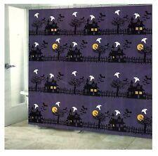 Halloween Village Haunted Houses Fabric Bathroom Shower Curtain