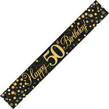 9ft Black & Gold Happy 50th Birthday Foil Banner Age 50 Party Decorations