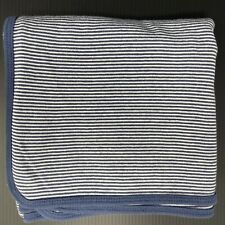 Carters Blue & White Stripe Baby Blanket Swaddle Cotton Jersey Stretch Knit