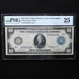 1914  $10 Federal Reserve Note Minneapolis, Fr # 937, PMG 25 VF, Burke/Glass