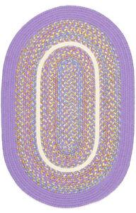 Kids Isle Bright Textured Polypropylene Playroom Braided Rug Violet KI15