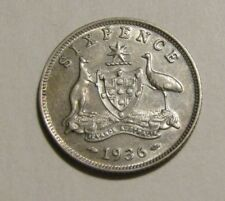 Australia 1936 sixpence (6) silver coin