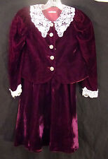 Victorian style girls purple velvet skirt and top set lace collar Size 8