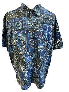 Kalani Designs Made In Hawaii Hawaiian Shirt Men's 2XL Cotton Blue 4 Button VTG