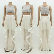 Women Sexy Prom Ball Gown Irregular Skirts Wrap Style Vest 2 Piece Party Dresses