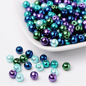 BULK 200 Glass Beads 4mm - Assorted Blue, Green and Purple Pearl Finish - BD1470