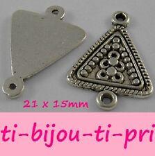 LOT de 12 PERLES CONNECTEURS TRIANGLES breloques ARGENTES 21 x 15mm bijoux