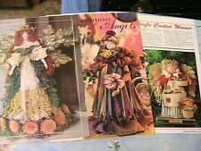 LOT OF 3 FLORAL~RIBBON~CLOTH DOLLS or ANGELS patterns~easy-cute *RARE OoP 1997