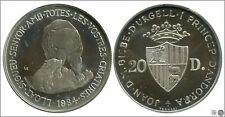 Andorra  Moneda  20 Diners 1984 / Oso / 16 gr. plata / En Capsula PROOF KM00022