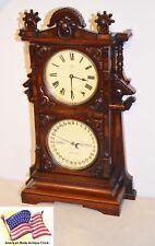 RESTORED SETH THOMAS PARLOR CALENDAR 9-1885 ANTIQUE CLOCK IN MAHOGANY & BURL