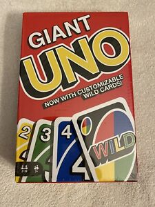"UNO Giant Card Game Mattel 7.4"" X 10.1"" Actual Size Limited New Sealed"
