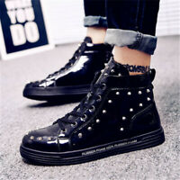 Mens Shiny Studded Rivet Shoes Lace Up Ankle Boots Round Toe Flat High Top Shoes