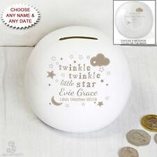 PERSONALISED Childrens / Baby MONEYBOX. Twinkle Little Star. Ceramic Money Box