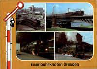 EISENBAHN Motiv AK DDR Signal Bahnhof am Eisenbahnknoten in Dresden Sachsen 1986