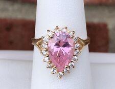 Zirconia Ladies Ring Size 7.25 10K Gold Pink & White Cubic