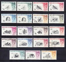 FALKLAND IS QEII SG193/207 set of 15 birds & 4 DLR issues very fine used cat£180