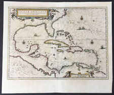 1639 Jansson Original Antique Map of Spanish, French, English North America GOM