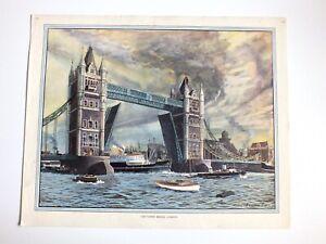 Vintage School Educational Poster London Tower Bridge England