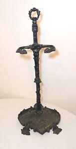 antique ornate cast iron Victorian umbrella cane walking stick stand holder
