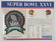 Super Bowl Xxvi Stat Card W/ Patch Redskins Vs Bills Willabee & Ward