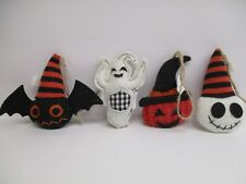 Lot of 4 pc. Halloween Ornaments knit fabric Bat Ghost  4""
