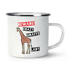 Attenzione Crazy GIRAFFE LADY retrò SMALTO TAZZA COPPA-ZOO ANIMALE BUFFO Safari