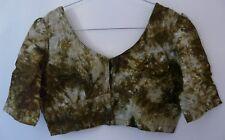 Top vert batik Choli indien Bellydance Taille 36 en coton TBE comme Neuf