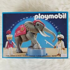 Vintage 1992 PLAYMOBIL 3711 Romani Circus Jointed Elephant 2 Trainers RARE