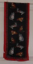 TERRIART Brown & Grey Cats, Black Striped Red/Green Bord 51x11 Lg Scarf-Vintage
