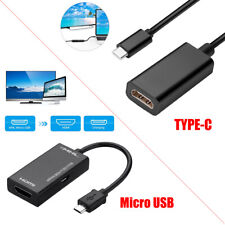 MHL Type C & Micro USB Male to HDMI Female Adapter Cable for Phone Tablet HD TV