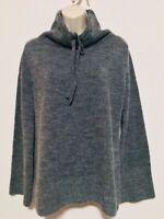 Matty M XS Tunic Sweater Charcoal Gray Long Wide Sleeve Cowl Neck Tie Ribbed Hem
