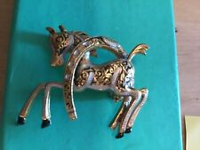 lovely vintage damascene/ toledo brooch of pony and horseshoe