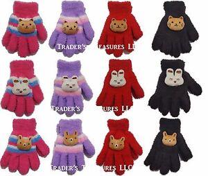 Girls Animal Face Gloves Choose Your Color & Animal NEW Cute Kitty Bunny Bear
