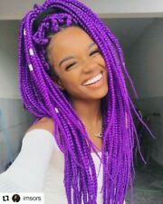 "Purple Kanekalon Jumbo Braiding Hair Extensions Box Braids 24"" 100g Per Bundle"