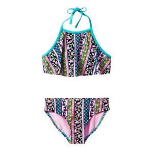 Xhilaration Blue Boho High Neck Flounce Bikini 2-Pc Set Swimwear Girls XS,M