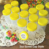 18 Pill Bottle Jars 2 ounce Yellow Caps Container Party Favor Decojars 4314 USA