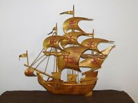 """VINTAGE 21"""" X 21"""" METAL PIRATE  RED CROSS SAILS GALLEON SAILING SHIP DECORATION"""