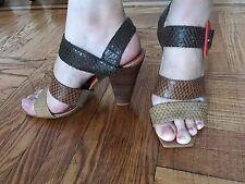 Chocolat Blu Beige Women's Leather Medium Heel Sandals Size 7