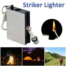 1 PC Stainless Steel Permanent Matches Flint Fire Starter Survial Tool Keyring