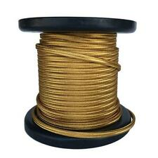 Gold Parallel Fabric Covered Wire, Antique Vintage Cloth Flat Cord, 100ft Spool