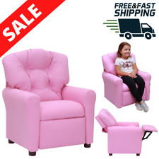 Kids Recliner Chair Pink Child Deluxe Padded Sofa armchair soft seat Lounger New
