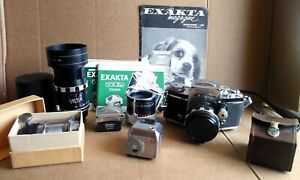 Ihagee Exakta VX IIa 35mm SLR Camera w/ 2 Lens, A16, Teleplus & Accessories