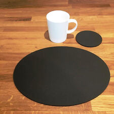 Oval Placemat and Round Coaster Set - Mocha Brown