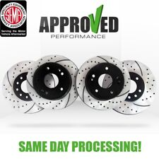 [Front and Rear Set] Premium Performance Drilled & Slotted Disc Brake Rotors