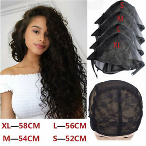 Black Wig Caps for Wigs Making with Adjustable Strap Full Lace Wig Weaving Cap
