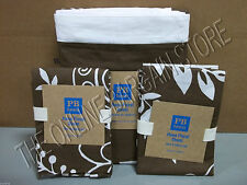 Pottery Barn PB Teen Hana Floral Bed Duvet Cover Full Queen coffee brown 2 shams